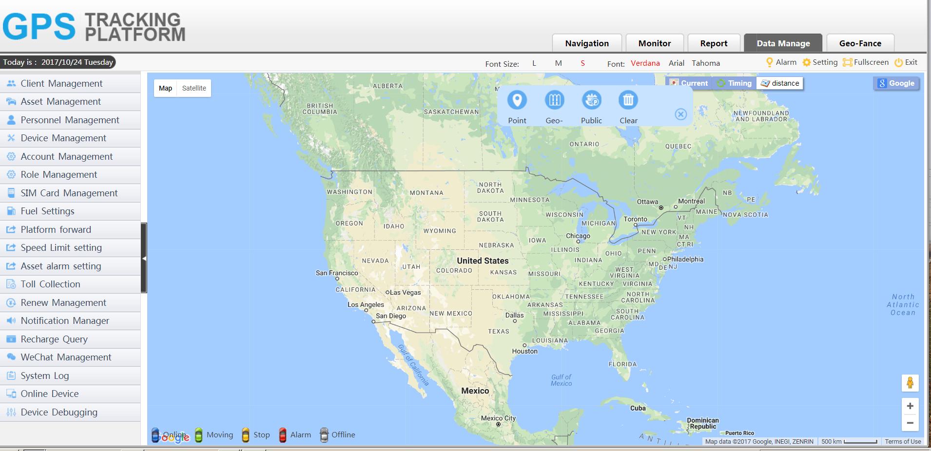 gps tracker platform data manage