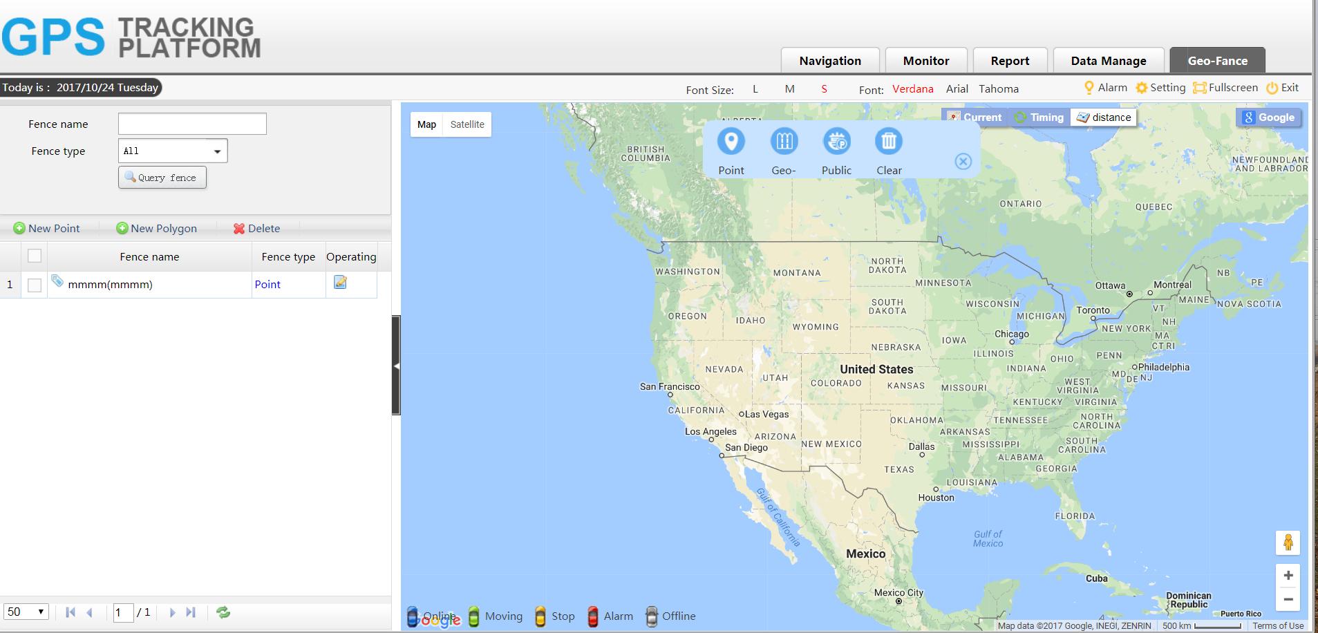 Highfive GPS tracker platform geo fance